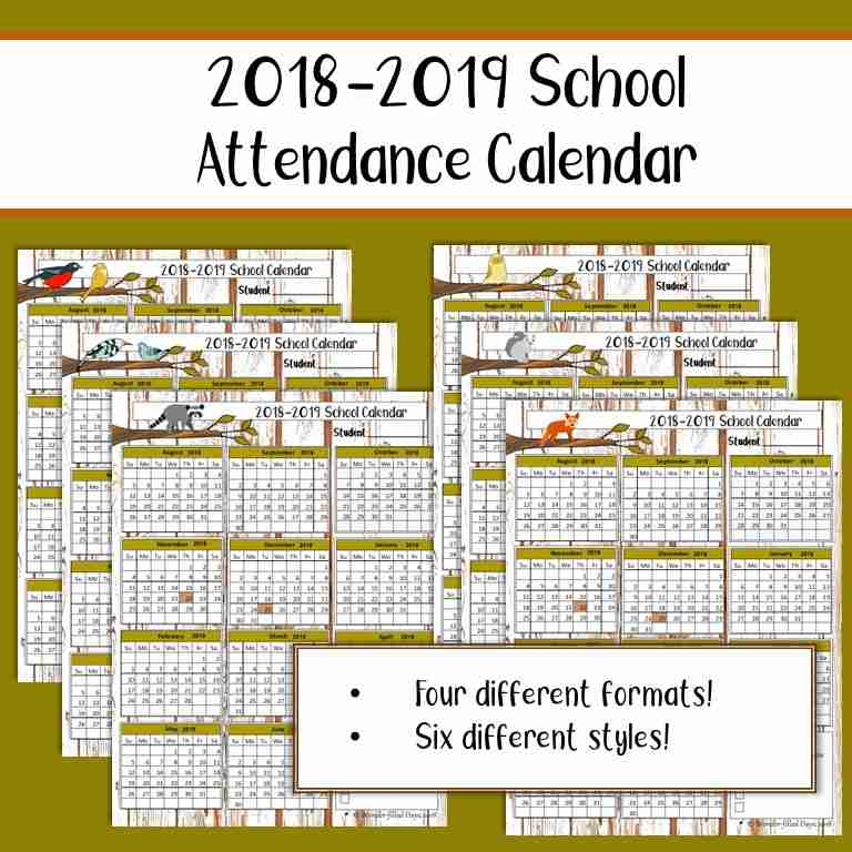 2018-2019 School Attendance Calendar - Wonder-Filled Days