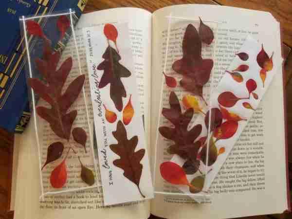Pressed Fall Leaf Bookmarks